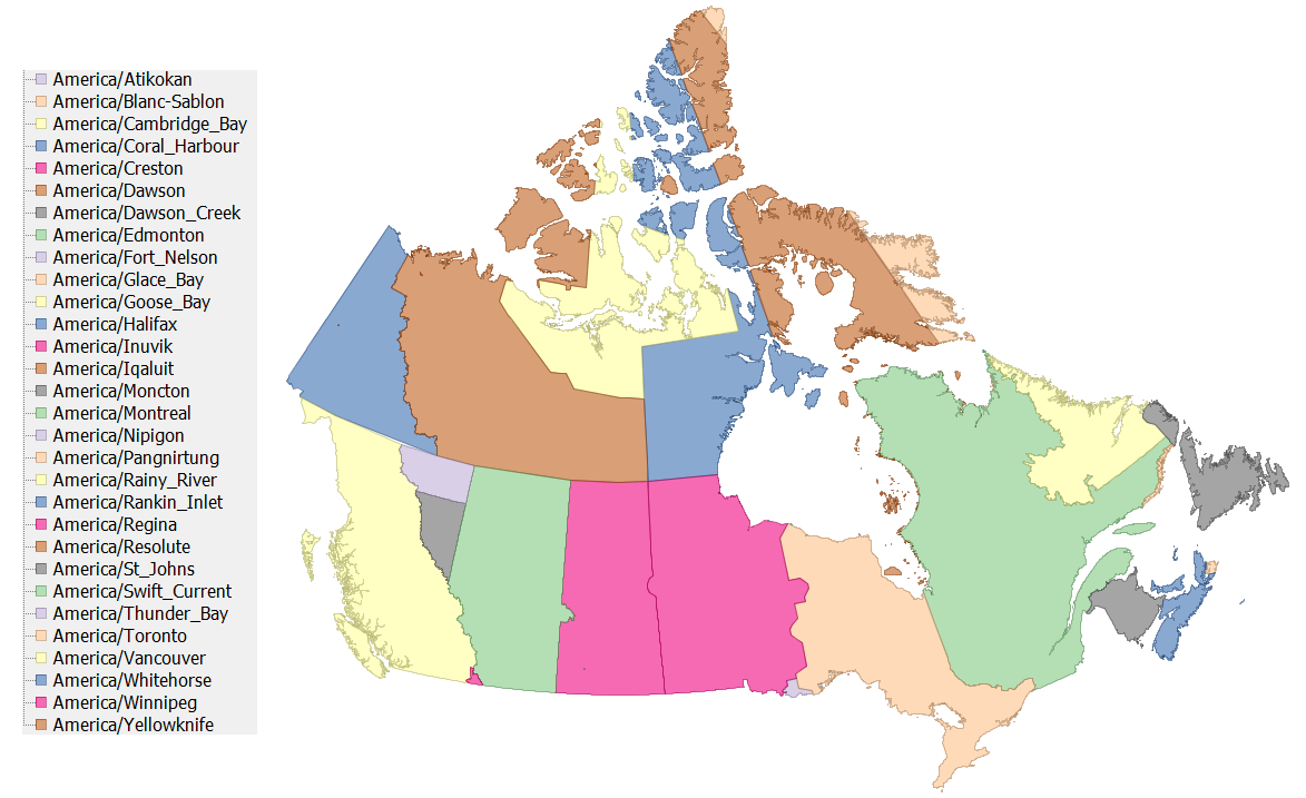 A shapefile of the TZ timezones of Canada