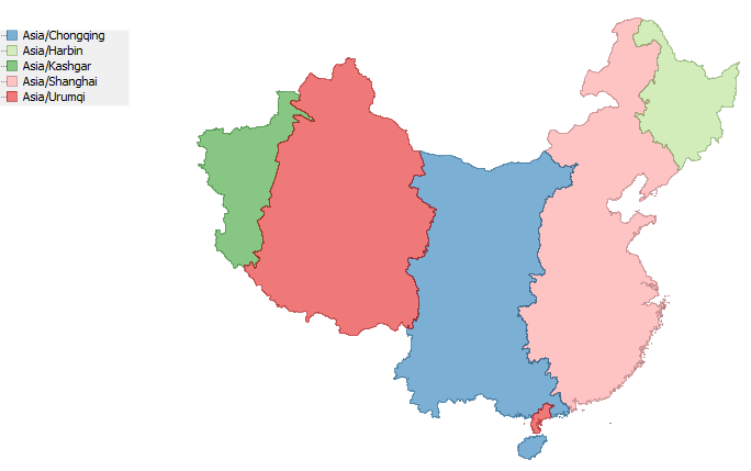 A shapefile of the TZ timezones of China