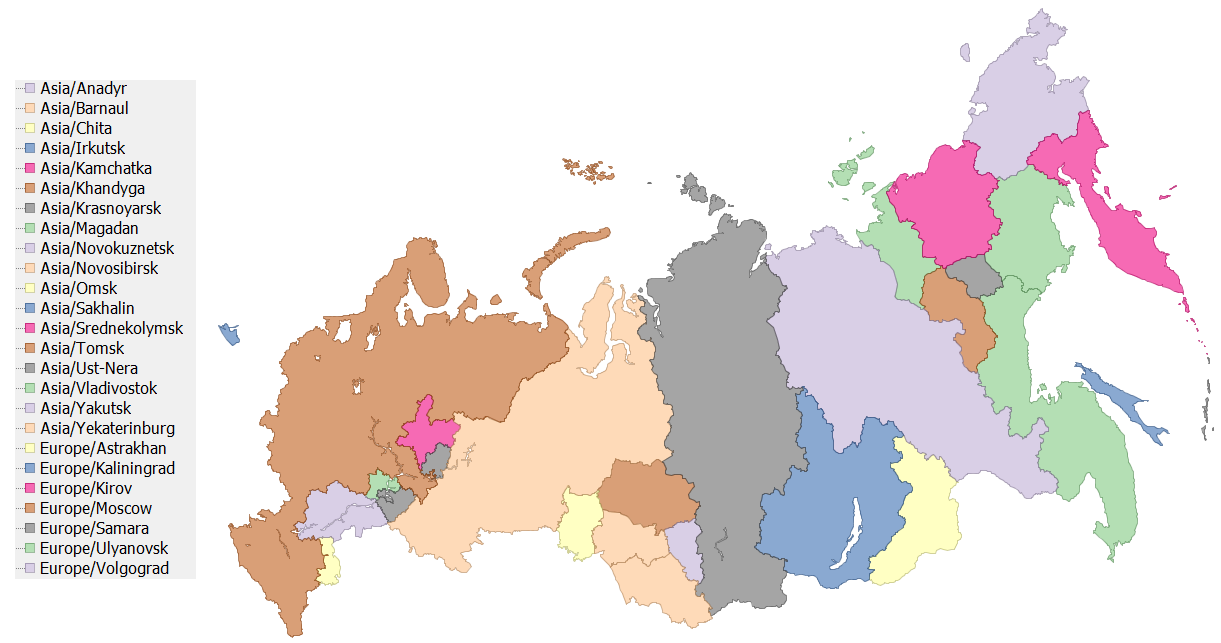 A map of the TZ timezones of Russia Krasnodar Russia World Map on simferopol russia map, winter palace russia map, georgia russia map, elista russia map, tbilisi russia map, yekaterinburg russia map, sochi map, krasnogorsk russia map, vilnius russia map, nyagan russia map, sakha russia map, sevastopol russia map, tynda russia map, donetsk russia map, zagorsk russia map, astana russia map, tallinn russia map, severomorsk russia map, kalmykia russia map,