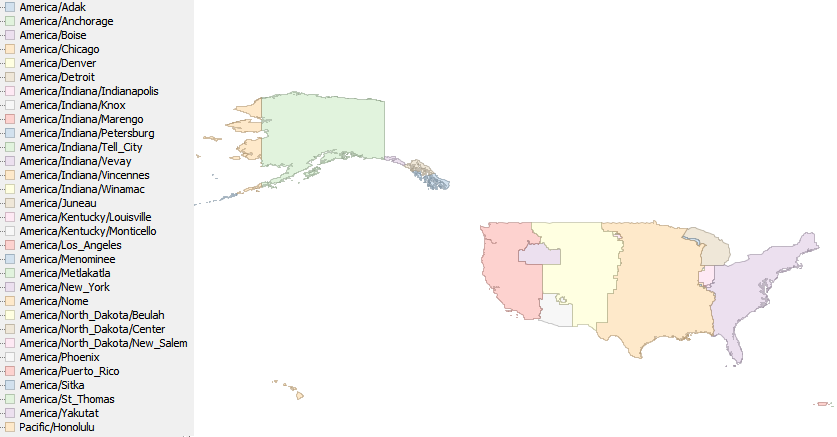 A map of the TZ timezones of the US